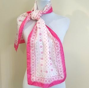 Isaac Mizrahi hot pink and white scarf